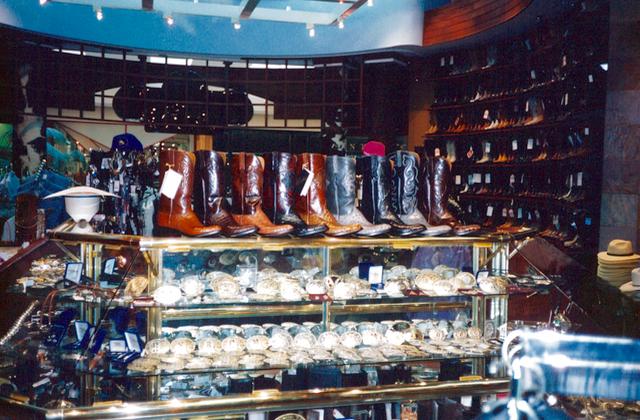 visual merchandising display of boots