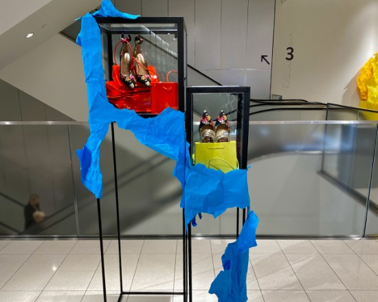 Retail display in front of an elevator