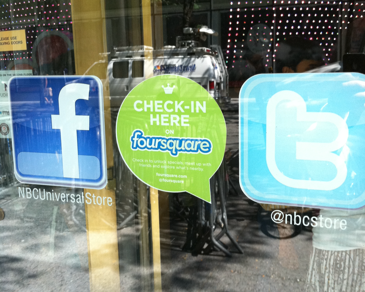 social media icons on storefront