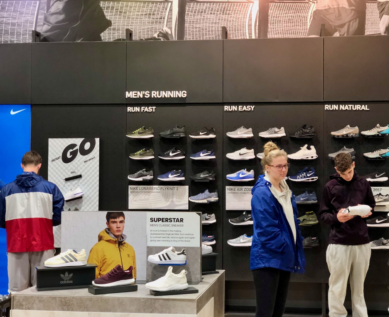Dick's Sporting Goods shoe wall