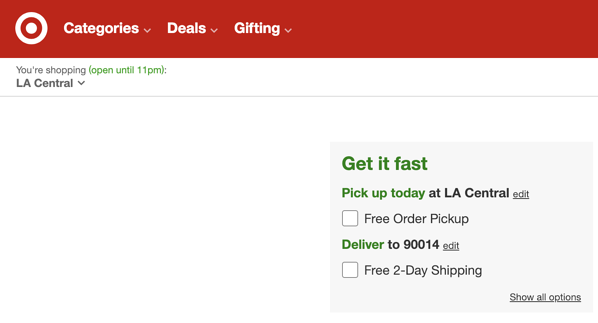 Target get it fast online shopping